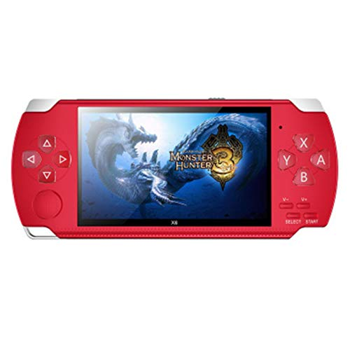ASDFGT-778 Handspiel-Konsole 4.3-Zoll-Bildschirm MP4-Player MP5 Spielspieler Reale 8GB Unterstützung for 8Bit 16bit 32-Bit-Spiele, Kamera, Video, E-Book (Color : Red)
