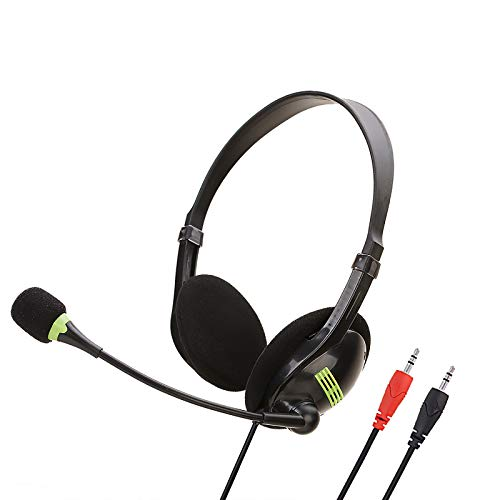 SOONHUA Professionelles Headset Gaming Headset Dual 3,5 mm Stecker Headset mit Mikrofon Schalter Lautstärkeregler für Desktop PC Laptop Büro Headset