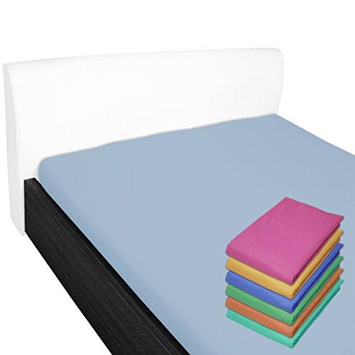 Nurtextil24 Bettlaken 100% Baumwolle 28 Farben und 4 Größen ohne Gummizug Himmelblau 210 x 240 cm