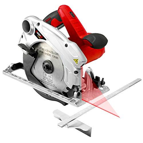 Scie circulaire 1500W 4700 RPM scie circulaire avec guidage laser SCIE À DISQUE HurthAG CS-1820 SCIE À MAIN +2 DISQUES 185 mm Lame 24T + 60T pour la coupe
