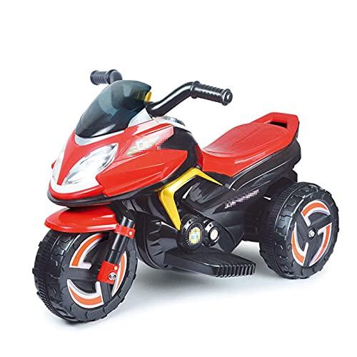XLAHD Motocicleta eléctrica para niños Moto eléctrica de 3 Ruedas para niños Paseo en Motocicleta con Faros Música Batería de Juegos Triciclo para Bicicleta, Rojo