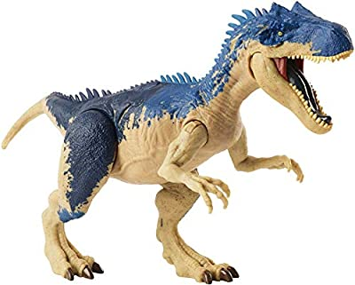 Jurassic World Dual Attack Allosaurus Dinosaurs in Medium Size with Button-Activated Dual Strike Action Moves Like Tail & Head Strikes by Mattel