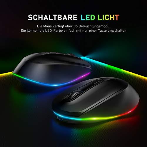 LED Kabellose Maus, Seenda Wiederaufladbare Leise Funkmaus für Kinder, 2.4G USB Verbindung mit Nano-USB-Empfänger, 1600 DPI für PC/Laptop/Windows,Schwarz