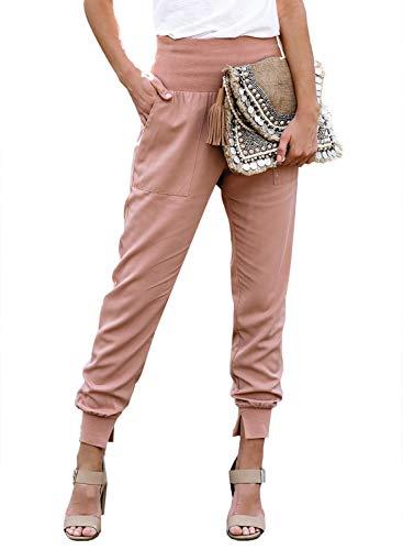 GOSOPIN Women Casual Drawstring Elastic Waist Lounge Jogging Jogger Pants with Pockets Small Pink