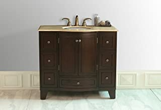 Stufurhome GM-2206-40-TR Grand Cheswick Single Vanity with Marble Top in Travertine with with White Under mount Sink, 40