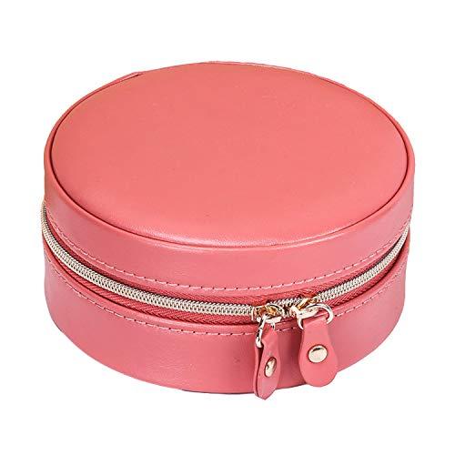Redsheep alto grado redondo portátil joyero suave cuero PU dulce pequeña joyería fresca titular caja-rojo-11x11x5.2cm
