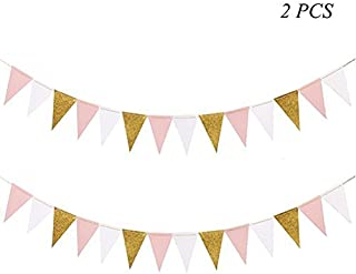 MF2FLAY Glitter Paper Banner, 20 Feet Triangle Sparkling Garland with 15PCS Pennants, Perfect Hanging Decoration for Wedding, Baby Shower and Party Supplies - 2PCS x10 Feet (Pink+White+Gold)