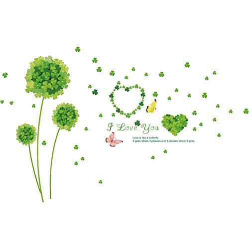 TAOYUE groene klaver bloem muur Stickers Vinyl DIY planten muurstickers voor woonkamer slaapkamer winkel huisdecoratie