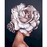 Kits de pintura de bricolaje por números, figura de niña de flores, pinturas al óleo, arte de pared ...