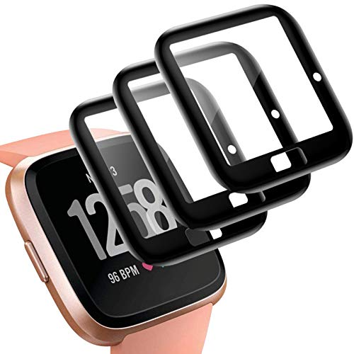 KIMILAR Schutzfolie Kompatibel mit Fitbit Versa/Versa Lite/SE Displayschutzfolie (Nicht für Versa 2) [3 Stück], 3D Vollabdeckung Panzerglas Folie für Versa Special Edition Smartwatch