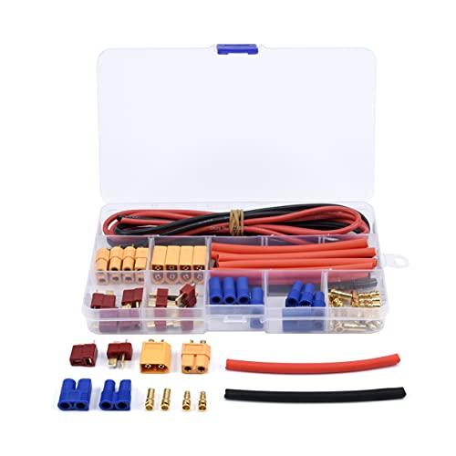 VSLIFE Decanos t Enchufe EC3 XT60 para Conector Masculino / Femenino 1 4AWG Tubos retráctiles de Alambre de Silicona para RC para FPV para Coche de Drone para la batería de lipo. Ajuste