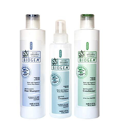 Dr ROSS' BIOGEM Clinically Proven Hair Loss Hair Care Set: Shampoo, Conditioner 10 Ounces, Treatment 6 Ounces for Normal Scalp Safety, Efficacy Test 100 Percent Stopped Balding by FDA, QVC Certified Lab