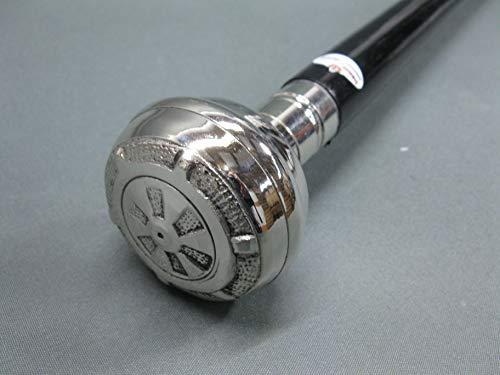 Houten wandelstok wandelstok 93 cm met zilveren metalen knop M 8 Walking Stick