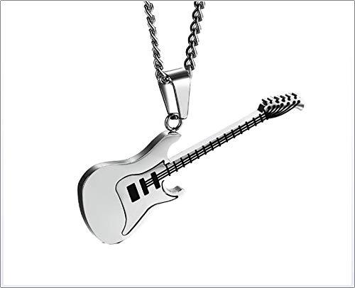 HAO SHOP Halsketting voor heren, roestvrijstalen gitaar, hanger, 60 cm, ketting