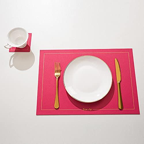 Manteles Individuales Lavables Salvamantele Individuales Antimanchas Antideslizantes Resistente Al Calor Impermeable,para La Mesa De Comedor De Cocina-Rosa