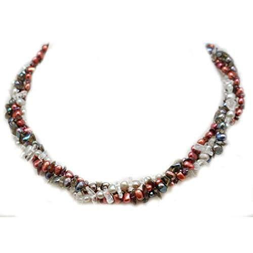 P23 - Olivia 925er Sterling Silber dreireihige Kette mit Suesswassser (Zucht) Perlen in rot, schwarz und grau. Mit Kristall-Rauchquarz und Granat Chips 46 cm .