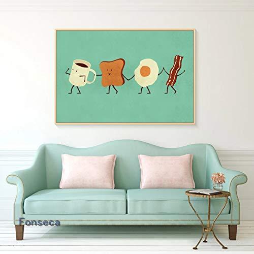 Mural HD Art Poster Estilo de Dibujos Animados Lindo Desayuno Lienzo Pintura Taza Tostadas Rebanadas Huevo Frito Bacon Carteles e Impresiones Imágenes de Pared Decoración del hogar
