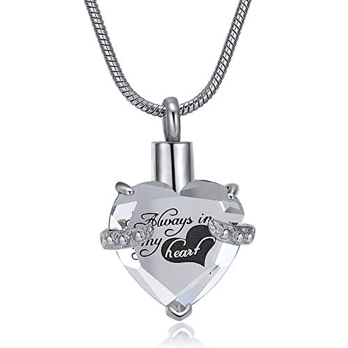 Always In My Heart Cremation Jewelry for Ashes Keepsake Urn Pendant - Crystal Urn Necklace for Ashes Women/Men (Clear)