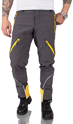 Rock Creek Herren Softshell Hose Cargohose Outdoorhose Wanderhose Herrenhose Wasserdicht Skihose Arbeitshose Winterhose Trekkinghose H-233 Dunkelgrau M