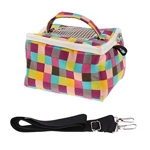 Tragetasche Kleintier Transporttasche mit Schultergurt für Hamster/Maus/Ratte/Chinchilla/Meerschweinchen/Frettchen - Rasterdruck L