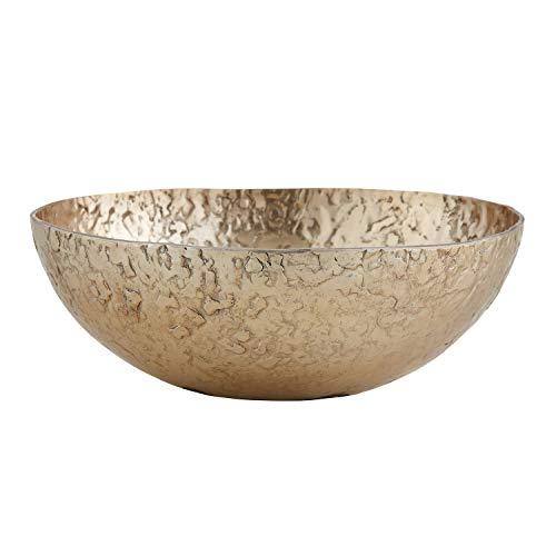 Creative Brands 47th & Main Ornate Aluminum Round Bowl, Small, Gold