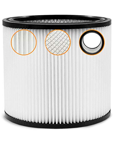 Wet Dry Shop Vac Filter 90304 Replacement Filter - Perfect for Wet/Dry Shop Vac Vacuums - Long Lasting - High Absorption (white)