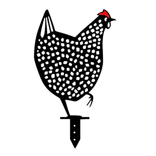 Rost Gartenstecker Huhn, Gartenstecker Dekoration Gartendeko Rostoptik, Gartenstecker aus Metall, Rost Deko für Garten, Terrasse Balkon Blumentopf (A)