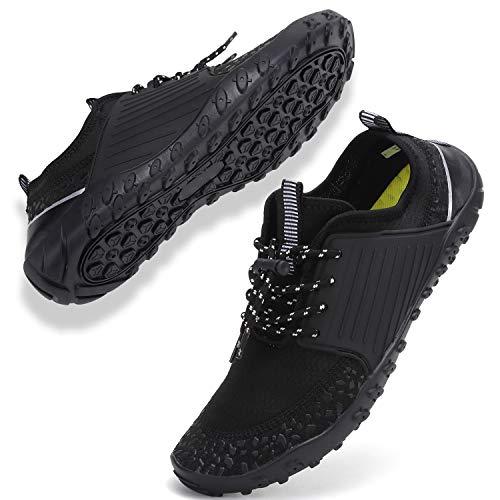 Buty plażowe, damskie, męskie, buty do wody, buty do kąpieli, unisex, oddychające, lekkie, antypoślizgowe buty do pływania, - V010 czarny - 48 EU