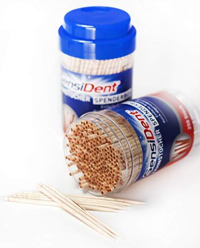 Smart-Planet® 500 Stück Holzzahnstocher 2 x 250 Zahnstocher aus Holz in der Spender Kunststoffdose - 2 x 250 Zahnhölzer im Zanhstocherspender