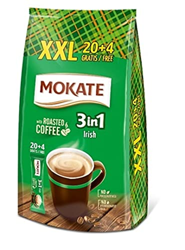 MOKATE XXL Irish 3-in-1 Sticks, löslicher Bohnenkaffee, mit Creamer & Zucker & Kokosöl, Instant-Kaffee aus gerösteter Kaffeebohnen, koffeinhaltig 408g (24 x 17g)