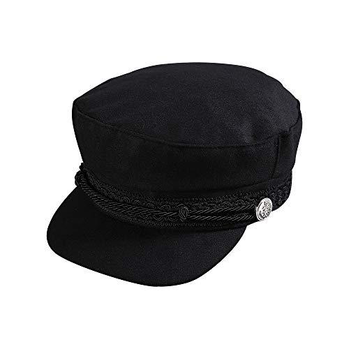 Happy-L Sombrero, Mujeres Chunky Baggy Hat Black Velvet Octagon Hat Mujeres,Ocio Fashion Cap. (Color : Black, Size : Freesize)