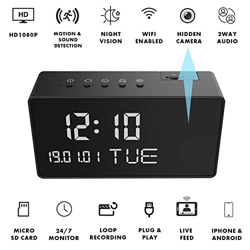 Cruci5 Mini Camera Clock Spy Cam with 1080P Full HD, Night Vision, Motion Detection Alert, Alarm Speaker, and Smart Phone App, Nanny Cam Real Time Video (Records Video only)