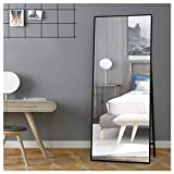SDKOA Full Body Floor Mirror Large with Adjustable Standing 65x22 Inches for Dressing, Bedroom, Living Room, Black Metal Frame, Modern Concise Design