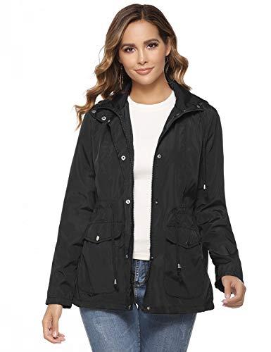 Akalnny dames regenjack lichte korte jas met ademend outdoorjack windjack overloopjack met capuchon voor wandelen, fietsen en kamperen reizen, S-XXL