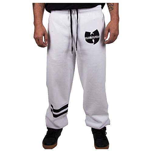Wu Wear Sweatpant Wu 36, Wu Tang Clan Athleisure Streetwear Fashion, Urban Hip Hop, Herren, weiß Größe XL, Farbe White