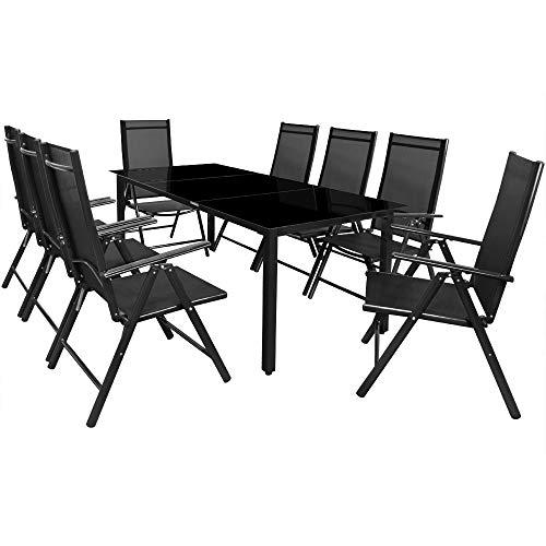 Deuba Sitzgruppe Bern 8+1 Aluminium 7-Fach verstellbare Hochlehner Stühle Tisch mit Sicherheitsglas Anthrazit Garten Set
