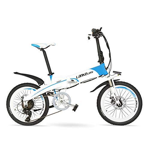 LANG TU 20'' Folding Electric Bike Built-in 48V Lithium-ion Battery, Strong Powerful Motor,Aluminum Alloy Rim & Frame,Disc Brakes,Quick Release (Blue-Black, 240W 10.4Ah,LCD Meter)
