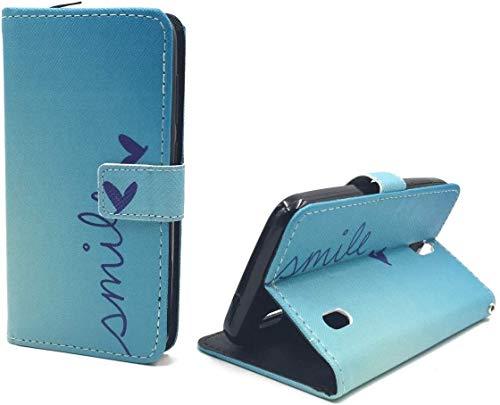 König Design Handyhülle Kompatibel mit Huawei Y625 Handytasche Schutzhülle Tasche Flip Hülle mit Kreditkartenfächern - Smile Blau