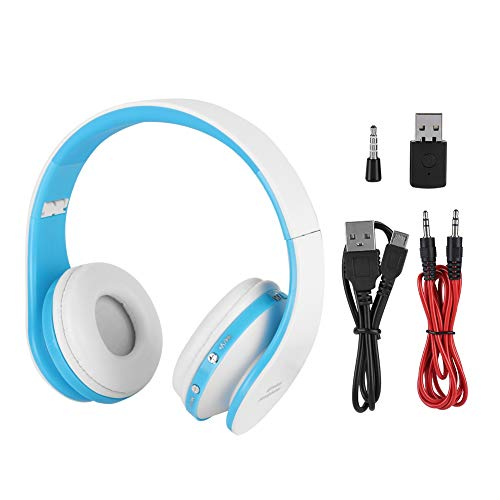 Ichiias Bluetooth 3.0 Headphone, Wireless Headphone, Built-in Microphone, Gaming Headset, Gaming for Home Console Internet Bar(White Blue)