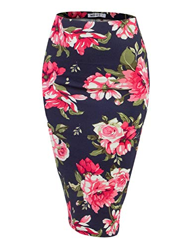 Doublju Stretch Knit Midi Pencil Skirt with Back Slit for Women with Plus Size NAVYPINK Medium