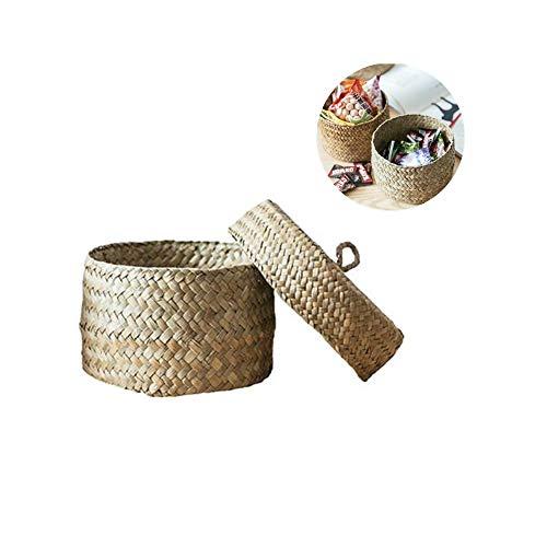 Stylishbuy Handwoven Finishing Box with Lid - Woven Storage Basket Desktop Storage Basket Round Gift Seaweed Snack Storage Box