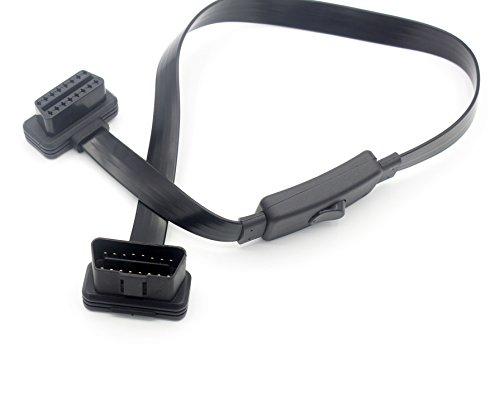 LoongGate OBD II Cable de extensión macho a hembra Paso de 16 pasadores 60cm - Cable de diagnóstico de perfil bajo y ángulo recto con interruptor de alimentación