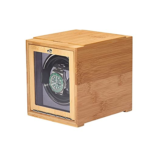 hyywmgx Enrollador de reloj hecho de cáscara de bambú natural de alta calidad, 4 ajustes de modo de rotación, adecuado para hombres y mujeres reloj de pulsera (color: interior rojo)