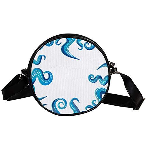 Round Crossbody Bag Small Handbag Ladies Fashion Shoulder Bags Messenger Bag Canvas Bag Waist Bag Accessories for Women - Blue Octopus Leg