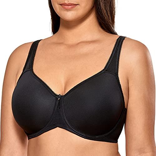 DELIMIRA Women's T-Shirt Full Coverage Plus Size Seamless Padded Underwire Bra Black 36F
