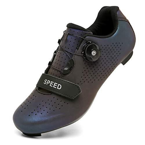 Scarpe da Ciclismo per Uomo Donna Scarpe da Ciclismo su Strada Scarpe da Equitazione Fibbia Rotante per Scarpe Tacchetta Traspirante DisN47