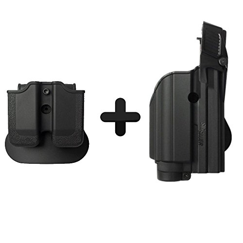 IMI-Defense Z1500 Light Laser Roto Holster & Double Magazine Pouch for Sig Sauer P226, P229 Pro, 2022, P250 Compact/Full Size, MK25