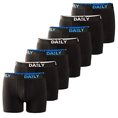 DA!LY UNDERWEAR Herren Boxershort Basic Boxer Retro Trunks 7er Pack Unterhosen Schwarz Waistband Bunt 95% Baumwolle Daily S M L XL XXL 3XL 4XL 5XL 6XL, Größe:4XL, Farbe:Farbmix 5