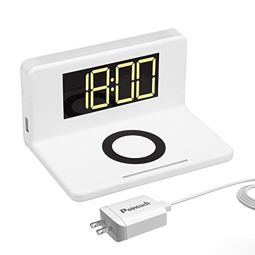 Pointuch Digital Alarm Clock for Bedroom with Qi 10W Fast Wireless Charger QC3.0 Adapter Plug, White Night Light, Dimming LED Display Clock, USB Charging Port for iPhone Samsung (White)