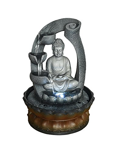 SunJet Buddha Fountain Fengshui Indoor Decoration – Zen Meditation Tabletop Decorative Waterfall Kit with Submersible Pump for Office and Home Decor